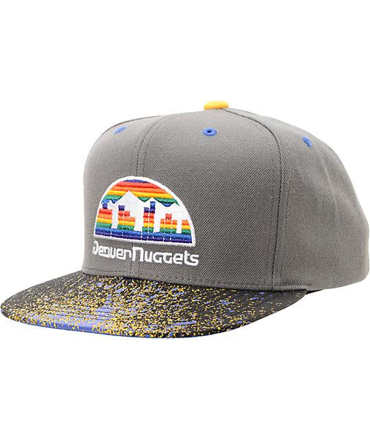NBA Mitchell and Ness Nuggets Grey Splatter Snapback Hat