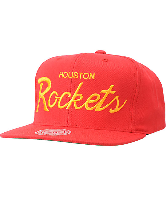 NBA Mitchell and Ness Rockets Script Snapback Hat