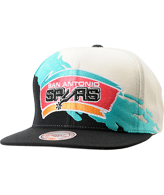 NBA Mitchell and Ness San Antonio Spurs Paintbrush Snapback Hat