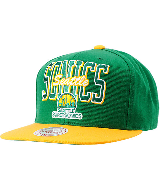 NBA Mitchell and Ness Seattle Sonics Reverse Stack Snapback Hat