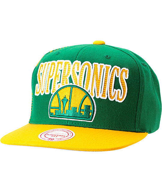 NBA Mitchell and Ness Seattle Sonics Side Logo Snapback Hat