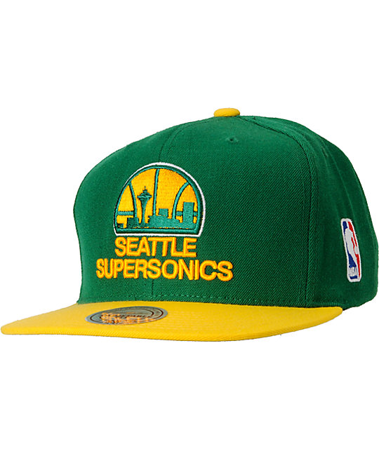 NBA Mitchell and Ness Seattle Supersonics Basic 2Tone Snapback Hat