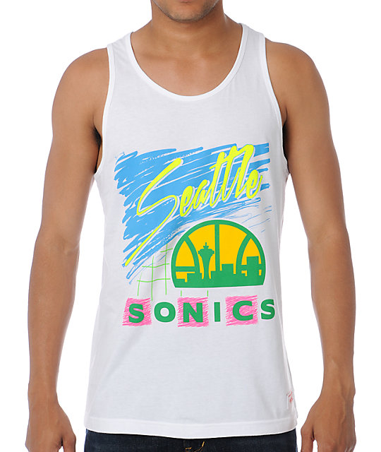NBA Mitchell and Ness Sonics Neon White Tank Top