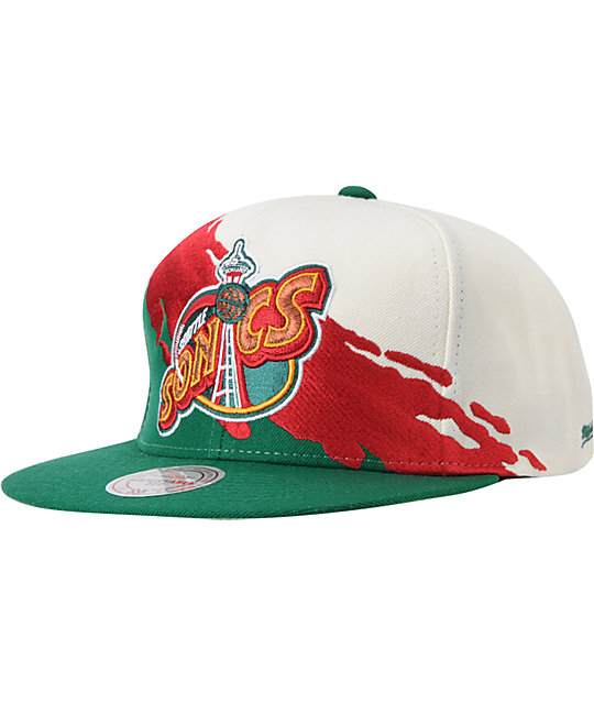 NBA Mitchell and Ness Supersonics Paintbrush Snapback Hat