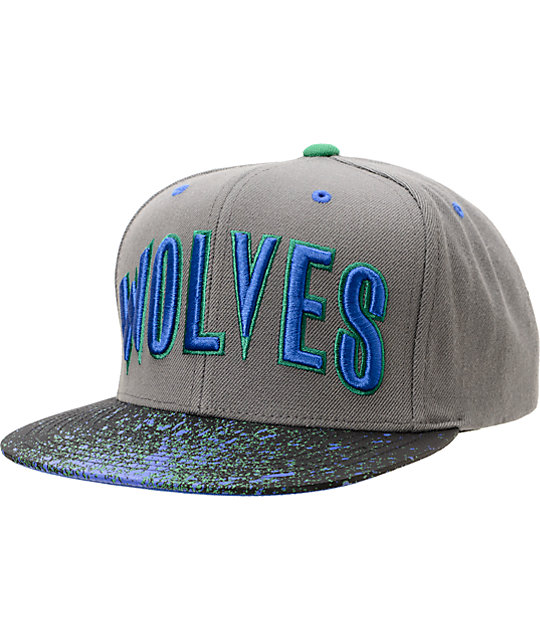 NBA Mitchell and Ness Timberwolves Grey Splatter Snapback Hat