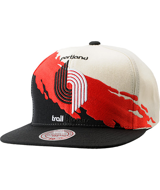 NBA Mitchell and Ness Trailblazers Paintbrush Snapback Hat