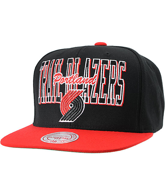 NBA Mitchell and Ness Trailblazers Reverse Stack Snapback Hat