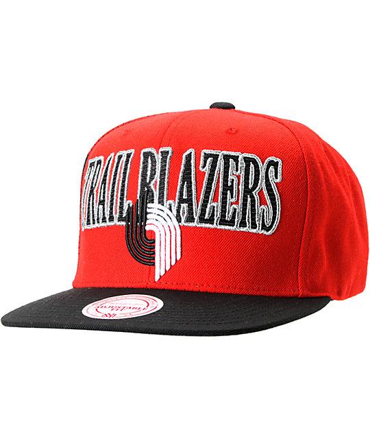 NBA Mitchell and Ness Trailblazers Side Logo Snapback Hat