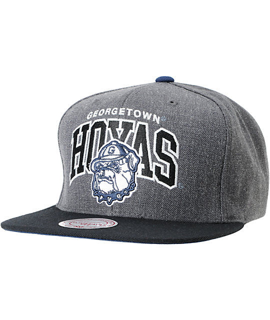 NCAA Mitchell and Ness Georgetown Hoyas Black & Grey Snapback Hat