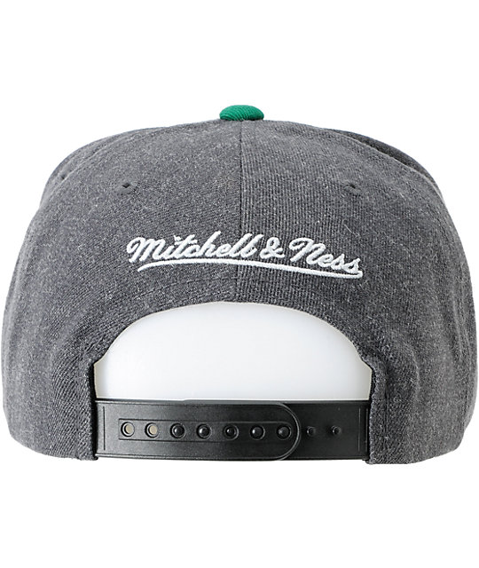 NCAA Mitchell and Ness U Of Miami Black & Grey Snapback Hat