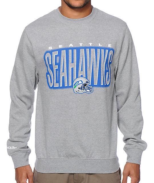 NFL Mitchell & Ness Seahawks Retro Blur Crew Neck Sweatshirt