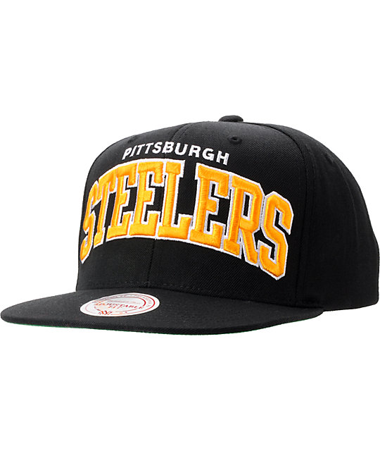 NFL Mitchell And Ness Pittsburgh Steelers Black Arch Snapback