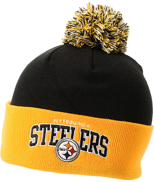 NFL Mitchell And Ness Pittsburgh Steelers Black Pom Beanie