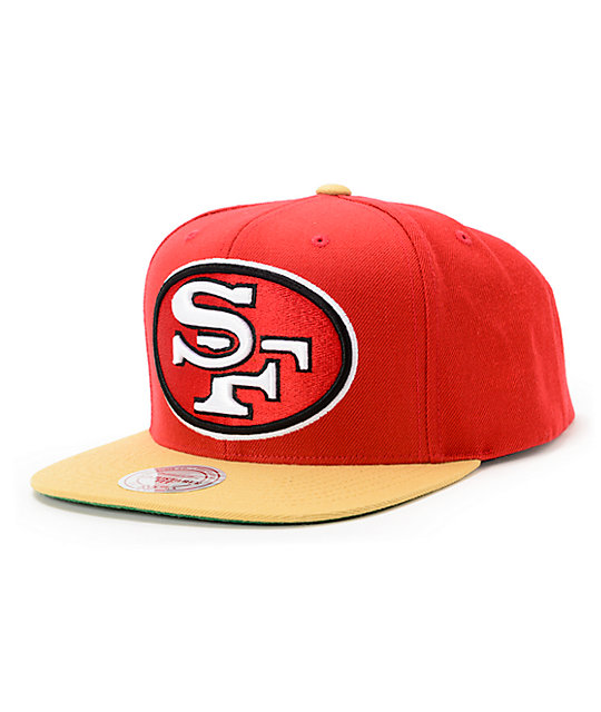 NFL Mitchell and Ness 49ers XL Logo 2Tone Red Snapback Hat