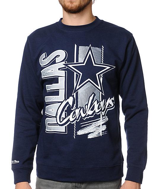 NFL Mitchell and Ness Cowboys Zip Zag Navy Crew Neck Sweatshirt