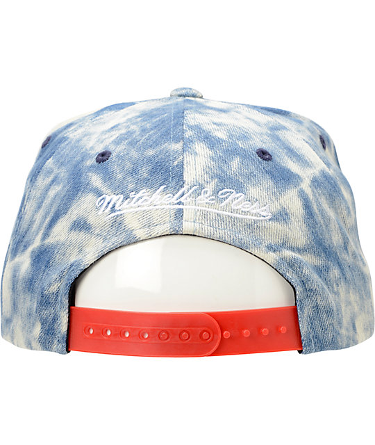 NFL Mitchell and Ness Giants Acid Wash Blue Snapback Hat