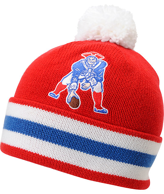 NFL Mitchell and Ness New England Patriots Pom Beanie