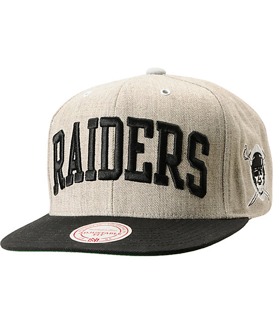 NFL Mitchell and Ness Raiders Arch 2Tone Heather Grey Snapback Hat