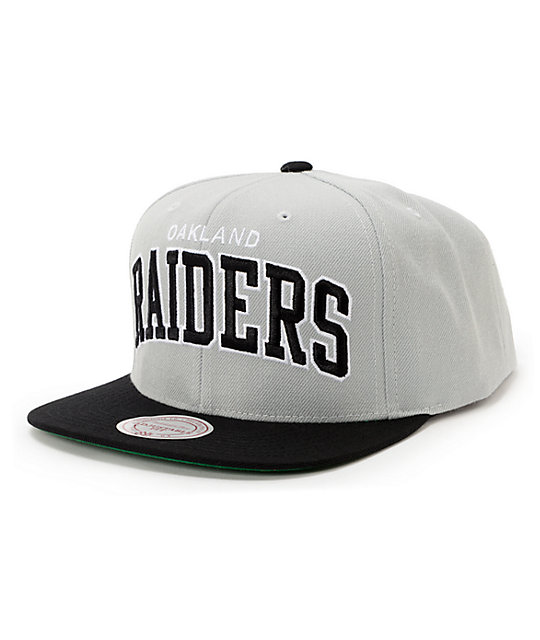NFL Mitchell and Ness Raiders Arch Grey 2Tone Snapback Hat
