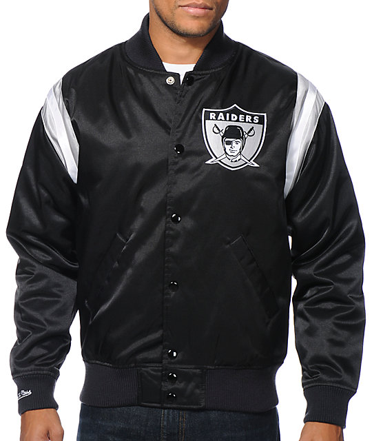 NFL Mitchell and Ness Raiders Division Black Satin Jacket