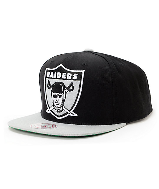 NFL Mitchell and Ness Raiders XL Logo 2Tone Black Snapback Hat