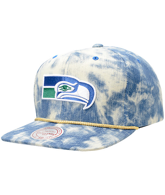 NFL Mitchell and Ness Seahawks Acid Wash Blue Snapback Hat