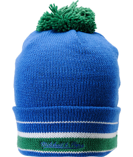 NFL Mitchell and Ness Seattle Seahawks Striped Cuff Pom Beanie