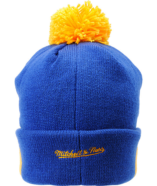 NFL Mitchell and Ness St Louis Rams Striped Cuff Pom Beanie