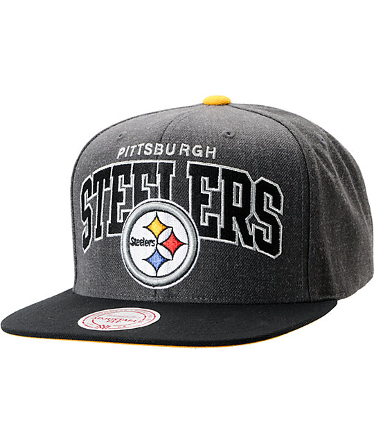 NFL Mitchell and Ness Steelers Arch Logo Grey Snapback Hat
