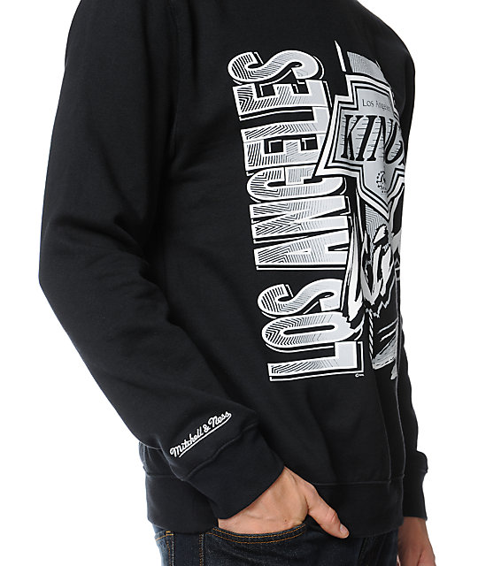 NHL Mitchell and Ness Kings Zip Zag Black Crew Neck Sweatshirt