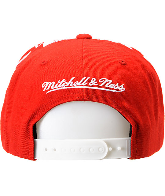 NHL Mitchell and Ness Red Wings Earthquake Snapback Hat