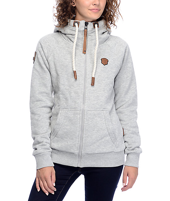 naketano brazzo vii grey melange zip up hoodie zumiez. Black Bedroom Furniture Sets. Home Design Ideas
