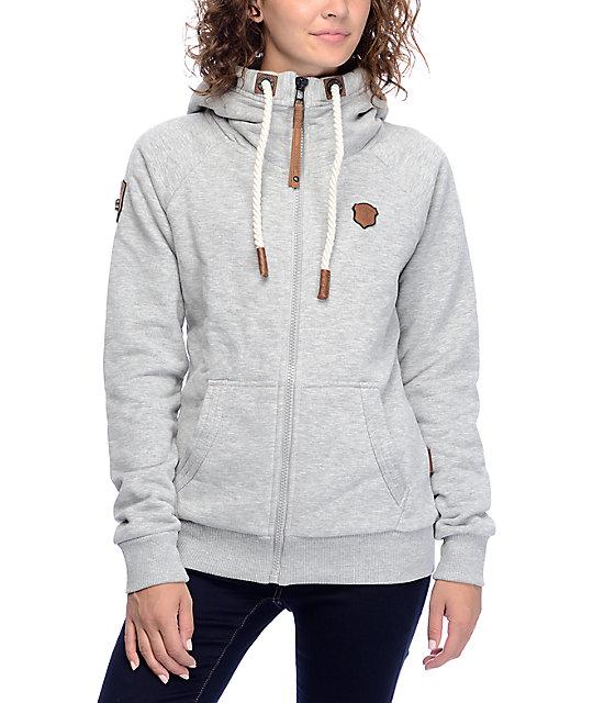 naketano brazzo vii grey melange zip up hoodie. Black Bedroom Furniture Sets. Home Design Ideas
