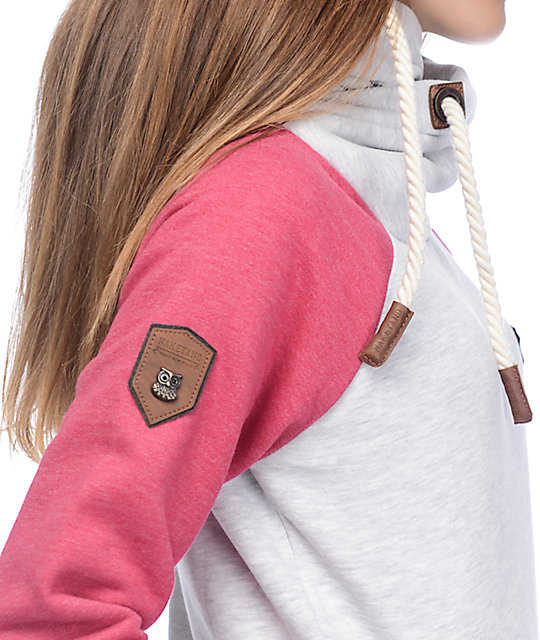 naketano so ein otto ii grey pink melange hoodie zumiez. Black Bedroom Furniture Sets. Home Design Ideas