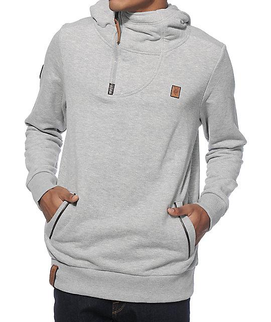 naketano tessarect ii grey melange quarter zip up hoodie. Black Bedroom Furniture Sets. Home Design Ideas