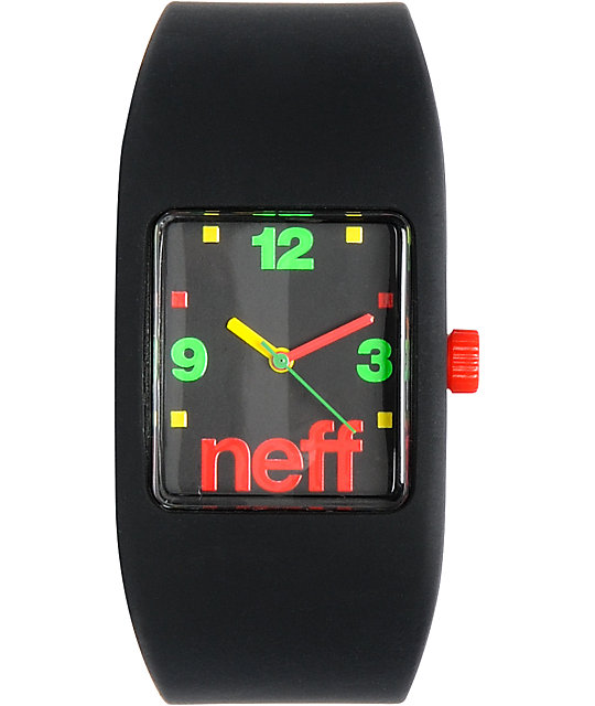Neff Bandit Black Rasta Block Wristband Analog Watch