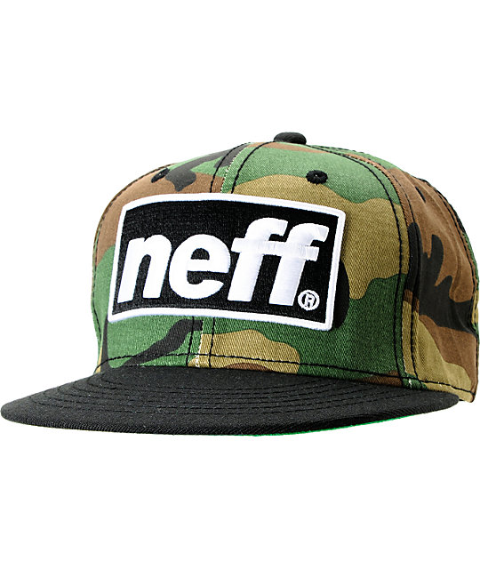 Neff Blok Cap Black & Camo Snapback Hat