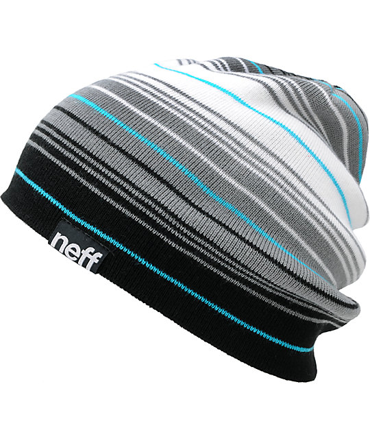 Neff Border Black & Grey Striped Beanie
