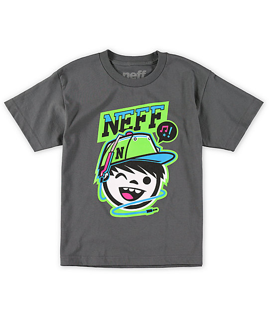 Neff Boys Cordy Charcoal Grey T-Shirt