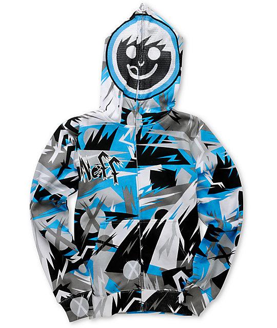 Neff Boys Jumbled Blue & Grey Full Zip Face Mask Hoodie at Zumiez : PDP