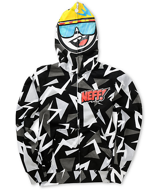 Boys Retro Grey & Black Full Zip Face Mask Hoodie