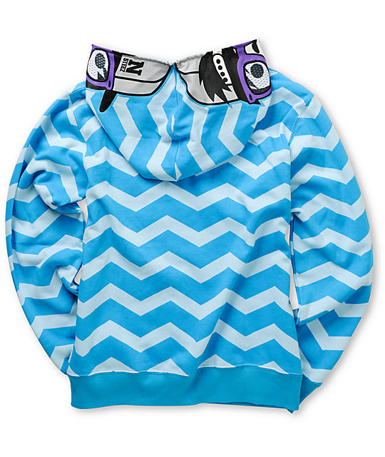 Neff Boys Yo Zig Blue Full Zip Face Mask Hoodie