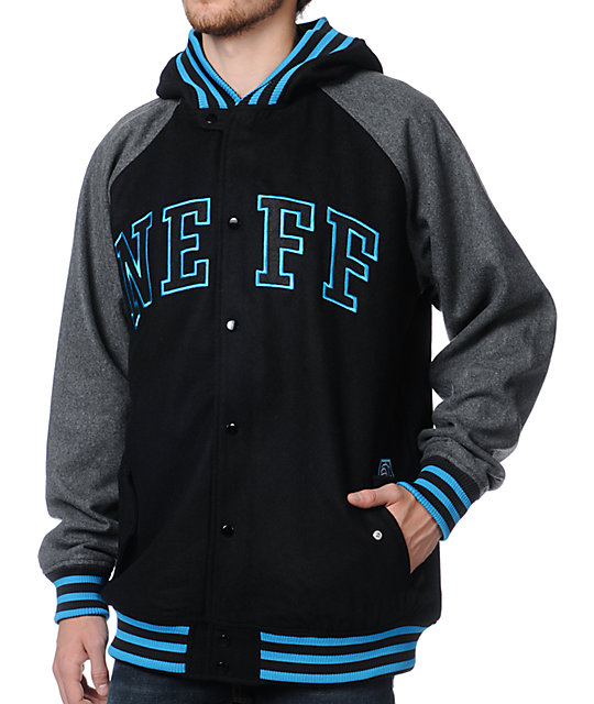 neff champ black grey hooded varsity jacket at zumiez pdp