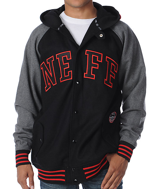 neff champ black red hooded varsity jacket