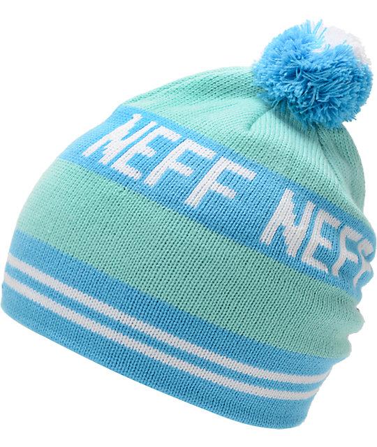 Neff Classic Aqua & Blue Pom Beanie
