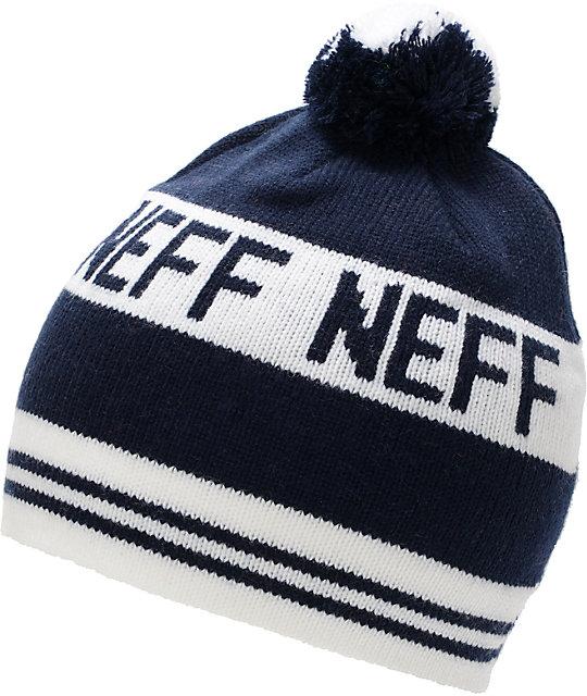 Neff Classic Navy & White Pom Beanie