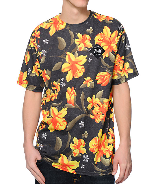 Neff commando floral print charcoal sublimated t shirt for Floral mens t shirts
