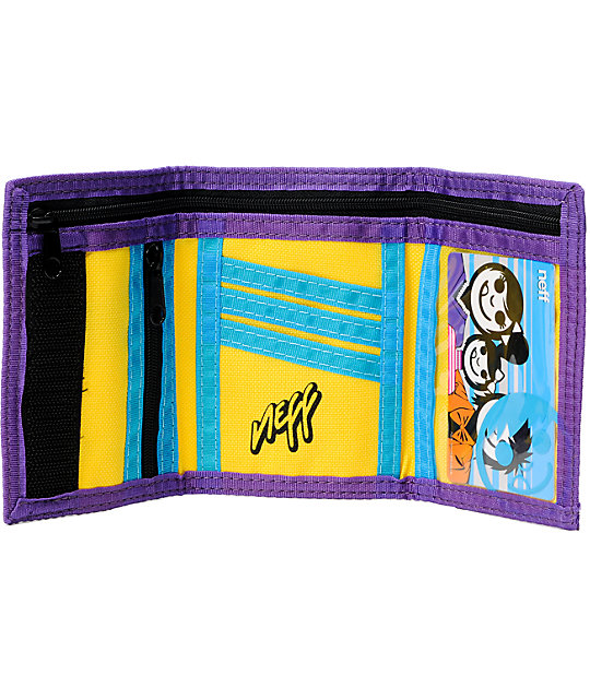 Neff Corpo Tri-Fold Yellow & Purple Wallet