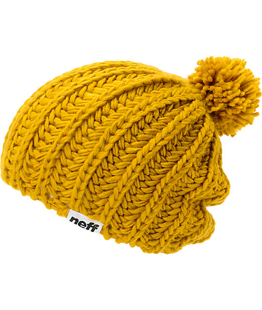 Neff curse gold pom beanie for Imagenes de gorros de lana