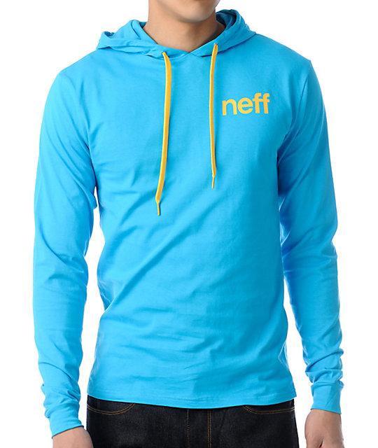 Neff Cyan Hood T-Shirt Pullover Hooded T-Shirt